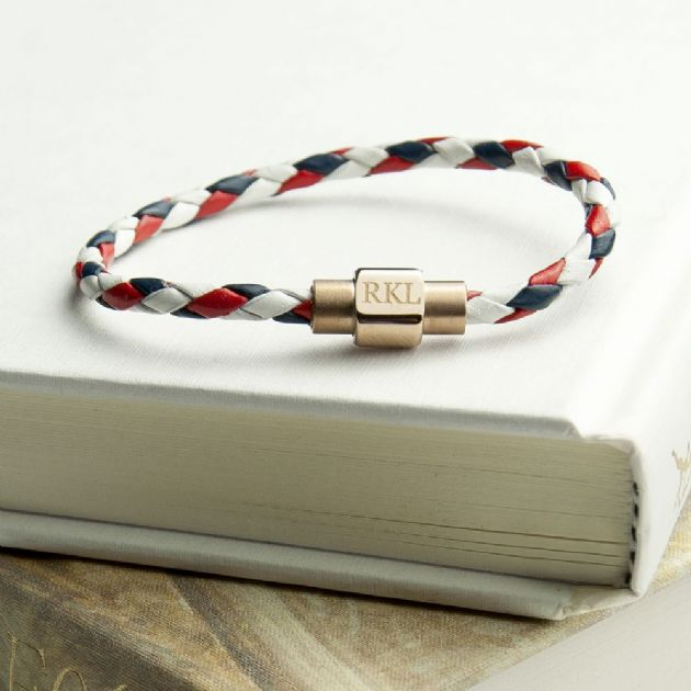Personalised Men's Nautical Bracelet With Gold Clasp